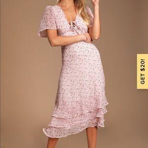Renee blush pink floral print ruffled lace up midi